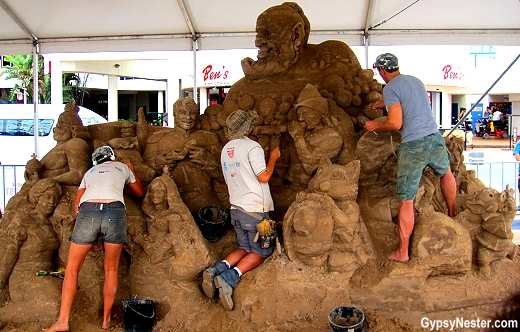 Artists at work at the Sand Sculpting Championships in Gold Coast, Queensland, Australia