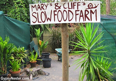 Slow food sign at Glasshouse Gourmet Snails in the Hinterlands of Queensland, Australia