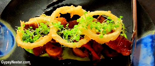 Flank Steak, Grilled Shallots, Roasted Kipflers, Onion Rings, Pea Puree, Red Wine Jus at Social Eating House + Bar, Gold Coast, Queensland
