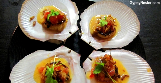 ½ Shell Hervey Bay Scallops, Red Curry, Tomato & Kaffir Lime at Social Eating House + Bar, Gold Coast, Queensland