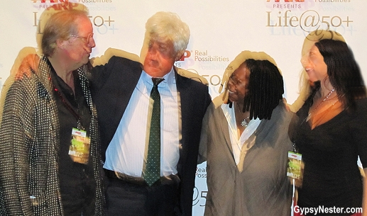 Oops! The GypsyNesters pose with Jay Leno and Whoopi Goldberg