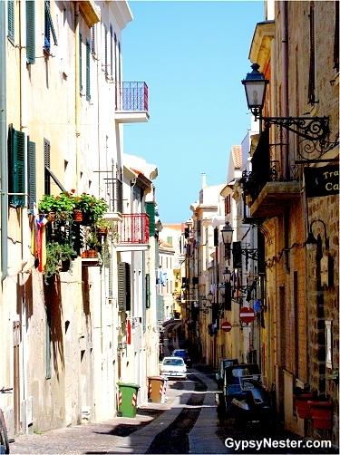 A narrow street in Alghero, Sardinia
