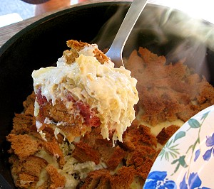 Rueben sandwich casserole cooked in a dutch oven