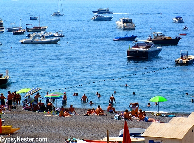 The beach at Positano on the Amalfi Coast of Italy