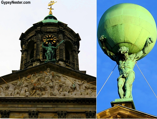 Gables atop the royal palace in Amsterdam include unicorns and Atlas