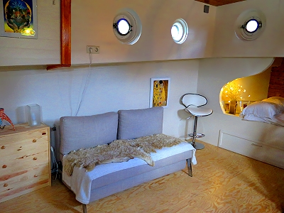 The living area in our beautiful houseboat bed and breakfast on the Amstel River in Amsterdam, Holland