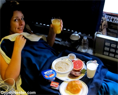 Veronica is served breakfast in bed on Amtrak!