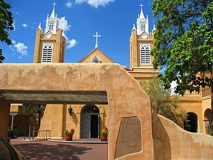 Old Town Albuquerque. The plaza is dominated by San Felipe De Neri