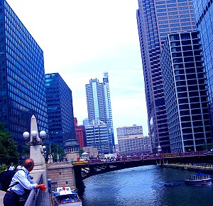First glimpse of Chicago from the train station