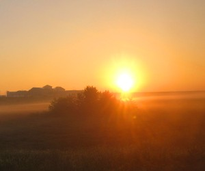 Sunrise in Nebraska on the California Zephyr