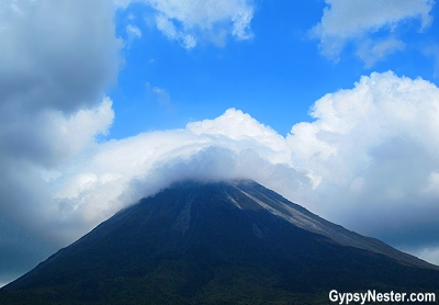 Clouds atop west side of Arenal Volcano in Costa Rica