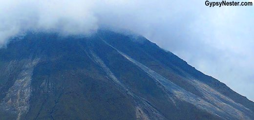Lava flows and ash from recent eruptions were easily identifiable since the west slope of Arenal has been highly active since 1968