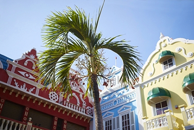 Brightly colored buildings in Aruba
