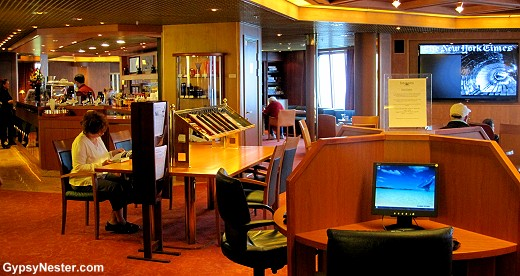 The Explorations Cafe aboard the Volendam