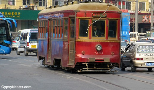 The wooden streetcars in Dalian, China!