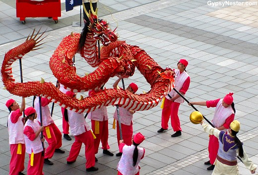 Our send off with dragons in Nagasaki