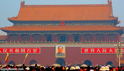 The iconic picture of Chairman Mao is always in perfect condition.