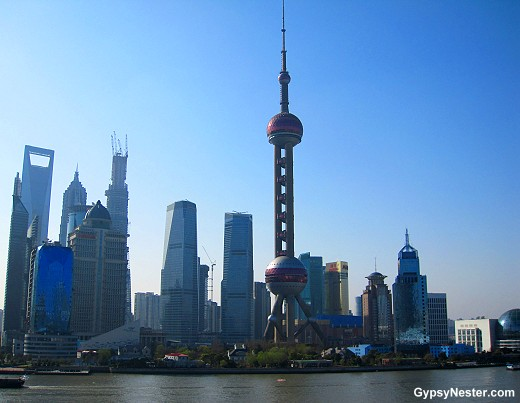 The view of Shanghai from the deck of Holland America's Volendam