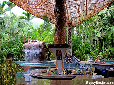 A bar at Baldi Hot Springs Resort in La Fortuna, Costa Rica