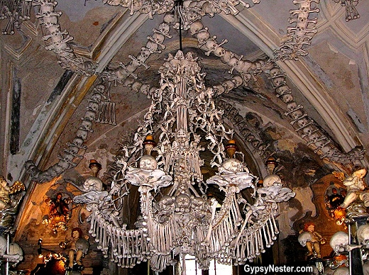 The gypsynesters the macabre human bone church of sedlec czech this chandelier at the sedlec ossuary in czech republic contains every bone in the human body aloadofball