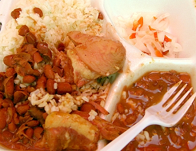 Pig tails with rice and beans, Belize City
