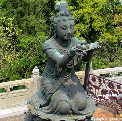 One of the six devas offering gifts to the Big Buddha in Hong Kong