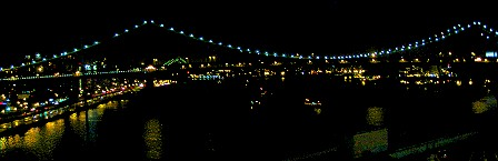 The Manhattan Bridge viewed from the Brooklyn Bridge at night