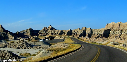 The Badlands Loop Road in Badlands National Monument, South Dakota