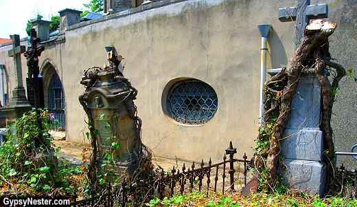 Creepy headstones at the graves of The Sedlec Ossuary, Czech Republic