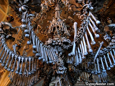 This chandelier at The Sedlec Ossuary in Czech Republic contains every bone in the human body