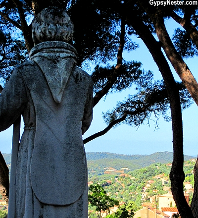 Statue of Saint Francis of Paola looks out over Bormes-les-Mimosas, Provence, France