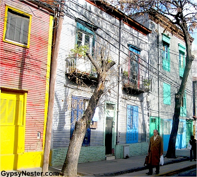 Bright corrugated metal homes in neighboorhood of Boca in Buenos Aires, Argentina