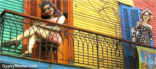 Whimsical statues adorn most balconies in La Boca, Buenos Aires