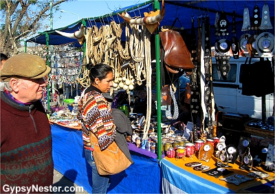 Browsing the booths at Feria de Mataderos, Buenos Aires, Argentina