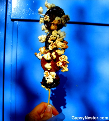 Figs and popcorn on a stick