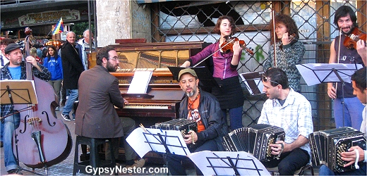 Music abounds in the neighborhood of San Telmo, Buenos Aires, Argentina