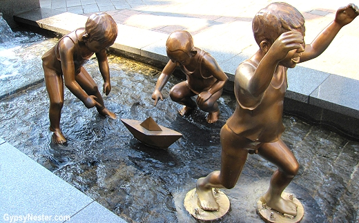 Statue of children playing in a fountain, Busan, South Korea