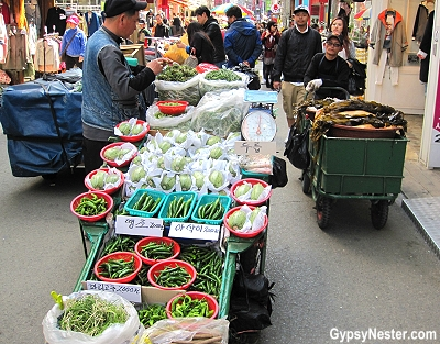 The crowded streets were filled with vendors in Busan, South Korea