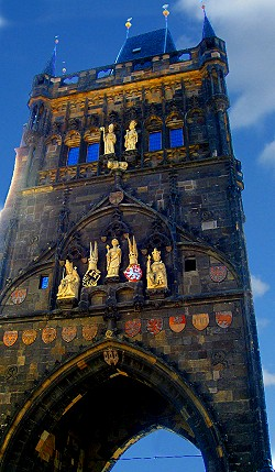 Gothic Old Town Guard Towers, Charles Bridge, Prague