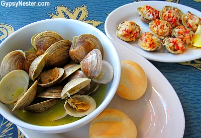 Steamed clams and Clams Casino at Steamer's in Cedar Key, Florida
