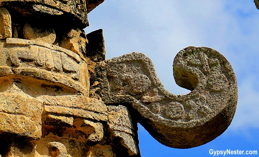 Detail of a building at Chichen Izta in Mexico
