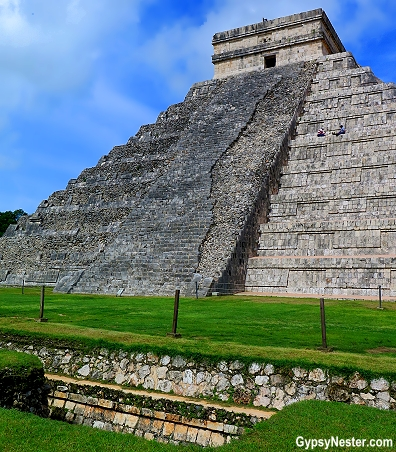 The foundations for the pyramid extend hundreds of feet out from the base of the pyramid at Chichen Itza in Mexico