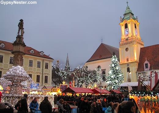 The Christmas Market in front of Old Town Hall in Bratislava, Slovakia