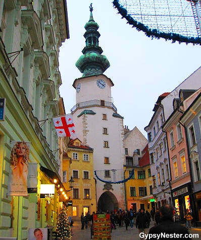 Below the Bratislava castle we enter the old town through Michael's Gate, named for the Archangel Michael whose statue sits atop the one hundred and fifty foot high tower