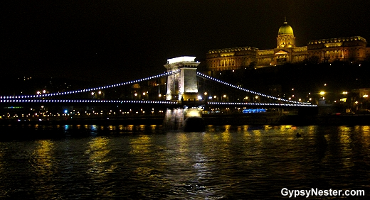 Sailing out of Budapest, Hungary at night, Chain Bridge