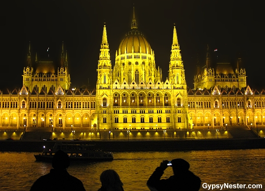 Sailing out of Budapest, Hungary at night, the Parliment