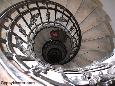 The stairs up the Cathedral Dome of the St. Stephen's Basilica is Budapest, Hungary