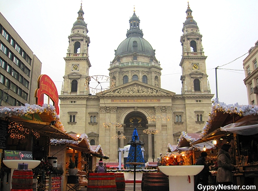 The Christmas Market in front of Szent István Bazilika, St. Stephen's Basilica, Budapest, Hungary