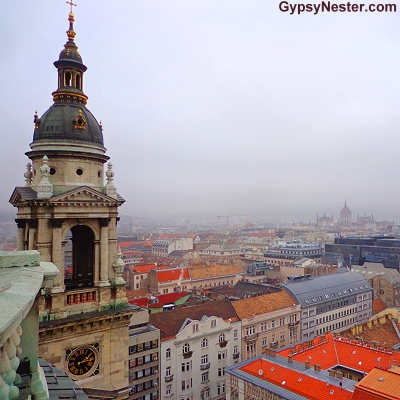 The view from the top of Szent István Bazilika, St. Stephen's Basilica, Budapest, Hungary