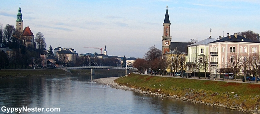 Crossing the Salzach River toward Salzburg's Old Town